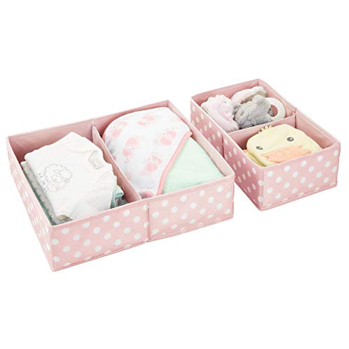 mDesign Soft Fabric Dresser Drawer and Closet Storage Organizer Set for Child/Kids Room, Nursery, Playroom, Bedroom - Rectangular Organizer Bins - Set of 2 - Pink with White Polka Dots