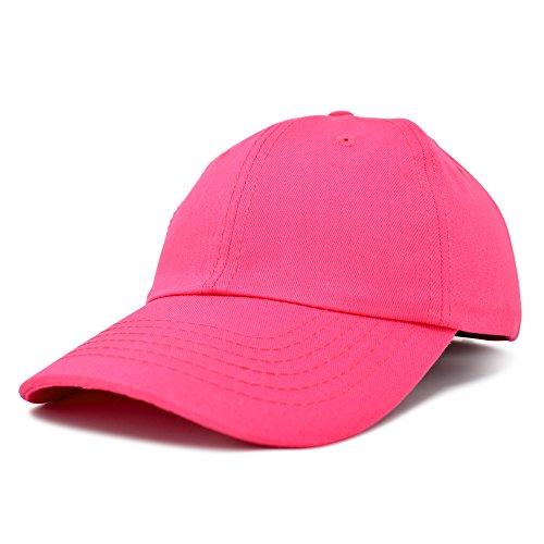 Dalix Unisex Unstructured Cotton Cap Adjustable Plain Hat, Hot Pink