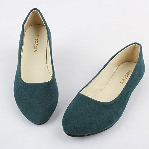 Sintética Verde Piel y Ocio Zapatos Planos Bailarinas Moda Oscuro de Mujer Básicas Ivtwp