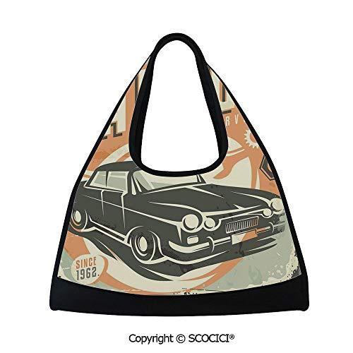 Tennis racket bag,Promotional Retro Design Auto Mechanic Car Service Concept Nostalgic Vehicle,Easy to Carry(18.5x6.7x20 in) Multicolor