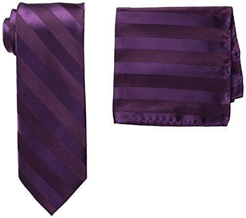 Purple Satin Stripe - Stacy Adams Men's Solid Woven Formal Stripe Tie Set, Plum, One Size