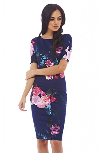 Sleeved Dress Midi (AX Paris Women's Floral Print Midinavy Dress(Navy Red Flowers, Size:6))