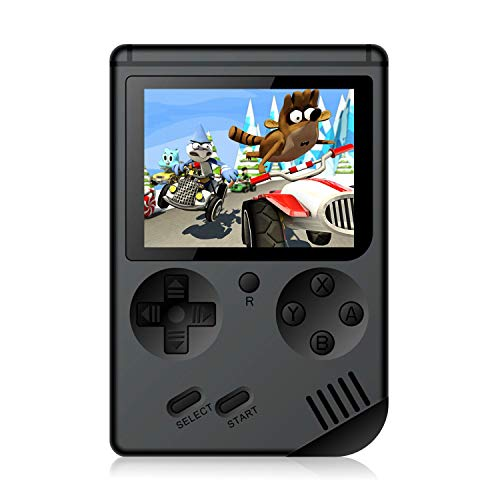 Handheld Games Console for Kids Adults - Retro Video Games Consoles 3 inch Screen 168 Classic Games 8 Bit Game Player with AV Cable Can Play on TV (Black) (Games Video)