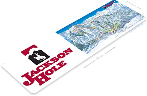 Tinworld TIN Sign C110 Jackson Hole Map Rustic Snow Ski Slope Metal Sign Skiing Cabin Resort Lodge 6