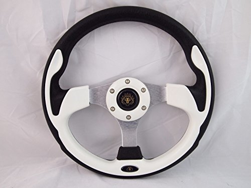 YAMAHA GOLF CART & POLARIS RHINO white steering wheel W/ Chrome Adapter 3 spoke (Rhino Steering Wheel)