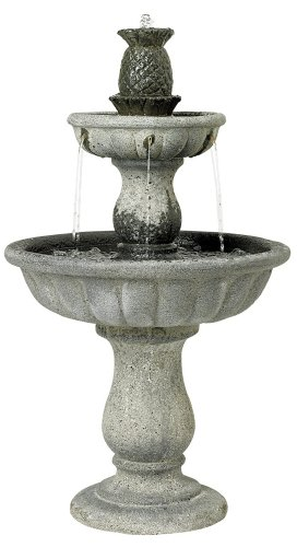 Classic Two-Tier 37″ High Reconstituted Granite Fountain
