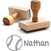 Personalized Kids Name Self Inking Stamp, Softball Stamp, Custom Stylish Font, Customized Name, Rubber Stamp, Naming Stamp, Children Signature Stamper, School Book Label Child Name Baseball (Wooden)