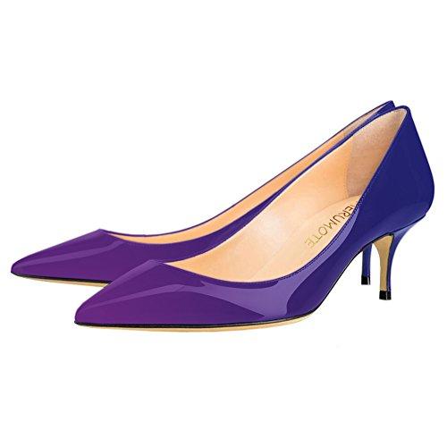 Pumps MERUMOTE Women's Kitten Heels Purple Shoes Toe Office Blue Pointy Work Crd8r