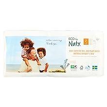 Eco by Naty Premium Pañales desechables para piel sensible, tamaño 5, paquete de 1 x 40 (40 unidades) – Pañal ecológico premium a base de plantas con 0% de aceite de plástico sobre la piel