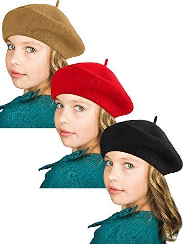 SATINIOR Beret Hat French Beanie Cap Artist Wool Hat Children Kids