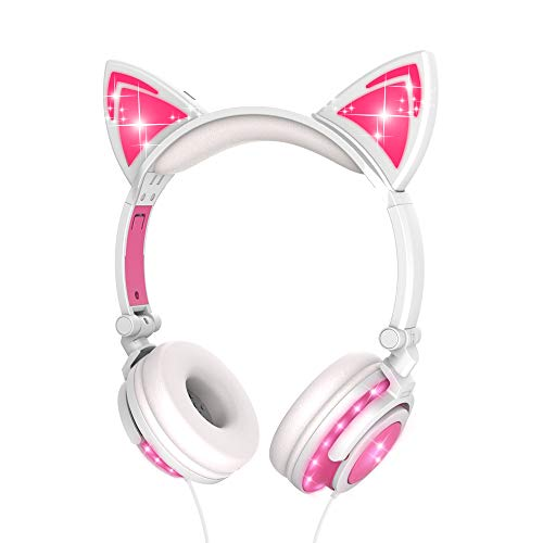LOBKIN Foldable Wired Over Ear Kids Headphone with Glowing Light for Girls Children Cosplay Fans,Cat Ear Headphones (Pink-Full Lights)