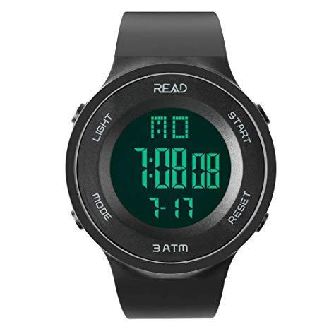 READ Reloj Digital Deportivo Impermeable para Hombres con Fecha Automática, Cronógrafo, Reloj Despertador, Fecha Completa del Calendario y Luz LED