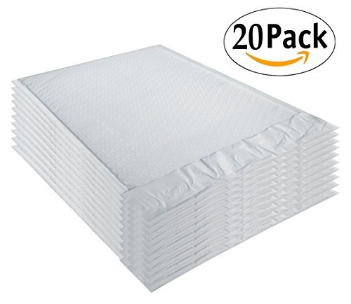 White Poly Bubble Mailers 9.5 x 13.5 Padded Envelopes 9 1/2 x 13 1/2 by Amiff. Pack of 50 Poly Cushion Envelopes. Exterior Size 10 x 13.5 (10 x 13 1/2). Peel and Seal. Mailing, Shipping, Packing.