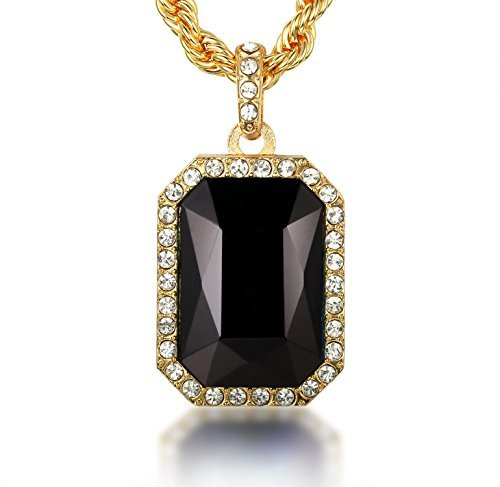 Halukakah ''Empire Men's Thick 18K Real Gold Plated Black Gemstone Pendant Necklace with Rope Chain 30''
