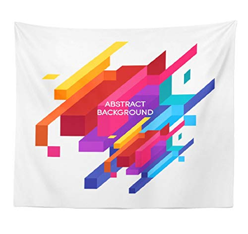 (Lshtar Abstract Art Decorative Tapestry Abstract Colorful Geometric Can Wallpaper Poster Wall Hanging Tapestry Polyester 80''L x 60''W for Bedroom Living Room)