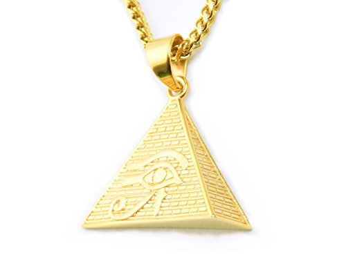 Lax Jewelry Mens Stainless Steel Egyptian Eye of Horus in Pyramid Pendant Necklace, 24 inch Cuban Chain (Egyptian Eye of Horus in Pyramid)