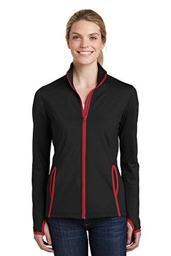- Sport-Tek Women's Stretch Contrast Full-Zip Jacket_Black/ True Red_M