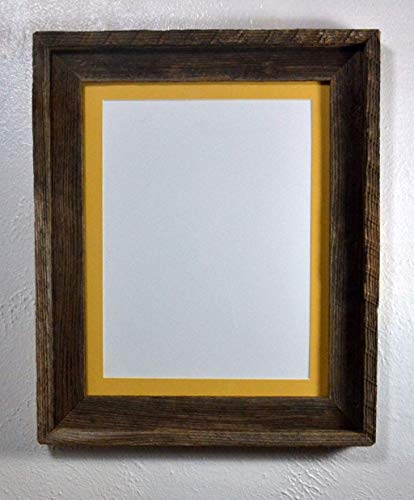 Picture Frame With 9x12 Yellow Mat Reclaimed Wood Rustic Style Complete 11x14 Without Mat