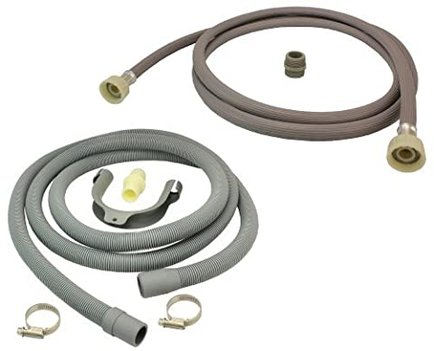 First4Spares Universal Fill Water Pipe And Drain Hose Extension Kit For Whirlpool Washing Machinnes 2.5M - Scarico Acqua Tubo