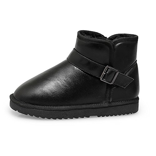Round Black Toe Slipping Toe Buckle Sole and Womens Closed With Low Boots Heels AmoonyFashion E15Owqzxx