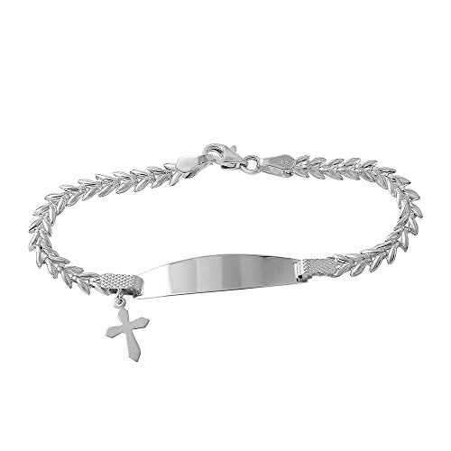 Polished 14k White Gold Baby ID Bracelet with Cross Crucifix, 6'' by JewelryAmerica