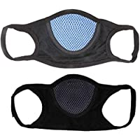 Prime Box Autoridez Cotton and Nylon Bike Face Mask Combo of 2 Pieces (Standard Size, Black)