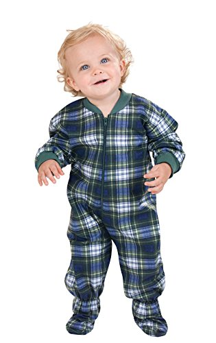 PajamaGram Infants' Flannel Tartan Plaid Cotton Sleeper