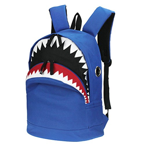 3D Shark Canvas Backpack Kids Book Bag School Backpack for Children Toddler Girls Boys (Blue) - Kid Book Bag