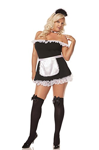 Hot Spot Plus Size Sexy Women's French Maid Costume,Black,1X/2X (Plus) ()