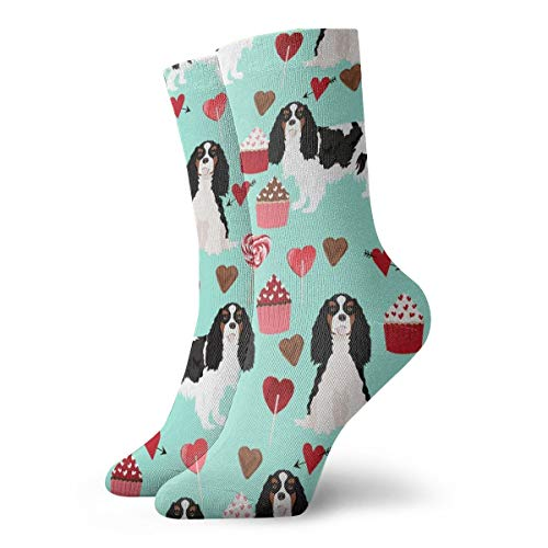 Mens and Women Patterned Dress Socks Cavalier King Charles Spaniel Tricolored Valentines Cupcakes Love Hearts Dog Breed Fabric Turquoise_1188 Colorful Funny Novelty Crazy Crew Socks