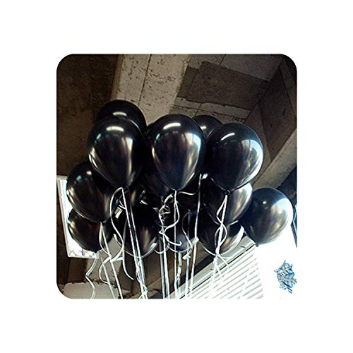 5pcs 10 Inch 1.8g Latex Balloons Strip Wedding Decorations Inflatable Air Balls Happy Birthday Party Supplies Marriage Balloons,A15 Black Round,1.8g
