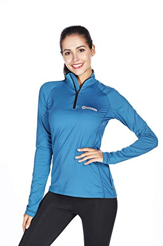 (Bpbtti Women's Thermal Quarter Zip Pullover top Running Cycling Shirt-Wicking and)