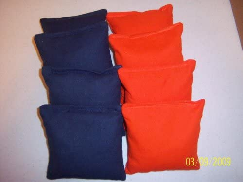 8 ACA Regulation Bags Cornhole Bags 2 Sets of 4 Navy Blue // Orange