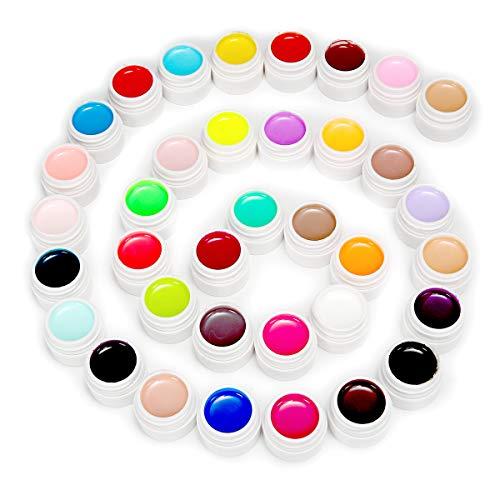 Skymore 36 Colors Nail Gel Art, Nail Pigment UV Gel Set with 36 Small Boxes, No Wipe Base and Top Coat (Nail Art Gel Set)