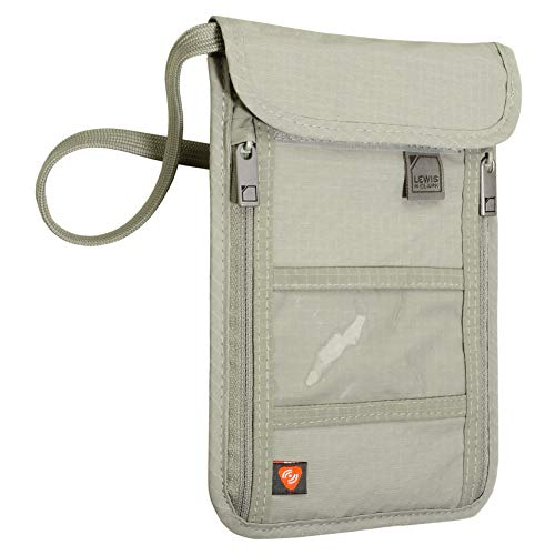 Lewis N. Clark RFID Blocking Stash Neck Wallet, Travel Pouch + Passport Holder for Women & Men, Taupe