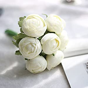 Anmas Home 2 Bunches Silk Artificial Ranunculus Posy Lu Lotus Bouquet 7 Head with Ribbon For Wedding Home Decoration (White) 10