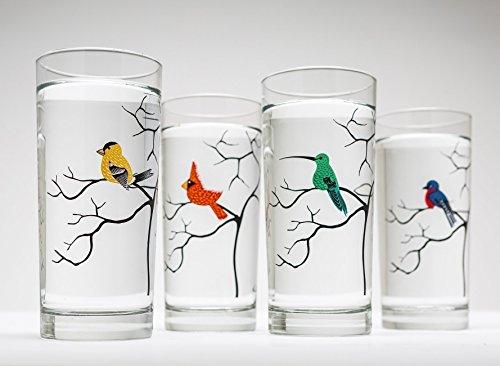 Cheap Bird Glassware Set of 4 Bird Glasses, Birds, Glassware, Cardinal, Finch, Hummingbird, Bluebird