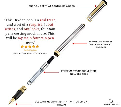 DRYDEN Luxury Fountain Pen [METALLIC SILVER] - BEST Fountain Pens Gift Set - Smooth Elegant Writing - Calligraphy - FREE Ink Refill Converter