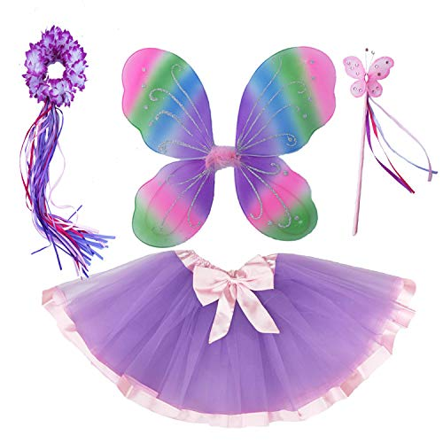 4 PC Girls Fairy Monarch Princess Costume Set with Wings, Tutu, Wand & Halo (Rainbow)