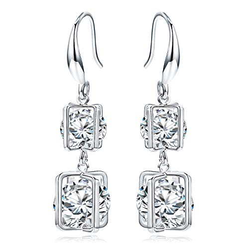 SBLING Platinum-Plated Cubic Zirconia Drop Earrings (9.5 cttw)-Gifts for Women/Girls ()