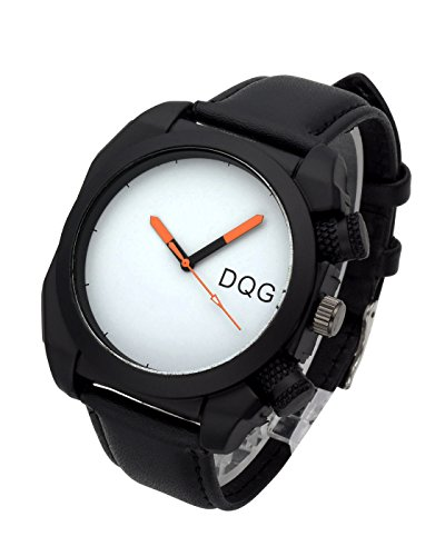 (Top Plaza Men's Fashion Casual Leather Analog Quartz Wrist Watch Square Dial Big Face Waterproof Sport Watches - Black Strap White Dial)