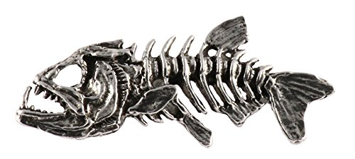 Creative Pewter Designs, Pewter Skeleton Fish, Handcrafted Freshwater Fish Lapel Pin Brooch, Antique Finish, (Fish Brooch)