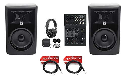 "2 JBL 306P MkII 6"" Studio Monitors+USB Interface 4-Channel Mixer w/EQ+Headphones"