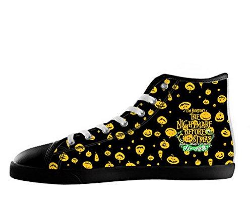 El Logotipo De Pesadilla Antes De Navidad Para Hombre Zapatos Antideslizantes De Color Negro Alto Zapatos De Lona Tnbc32