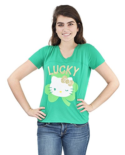Hello-Kitty-St-Patrick-Day-T-Shirt-Officially-Licensed-Juniors-Glitter-T-Shirt