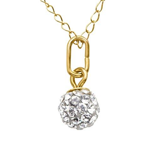 Glitter Ball Pendant - Girl's Glitter Ball Pendant Necklace with Swarovski Crystal in 10K Gold
