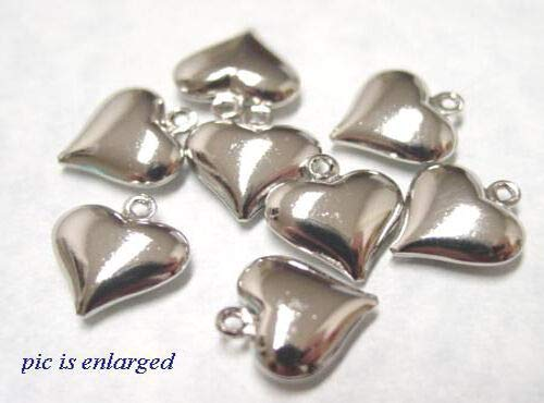 Jewelry Making Charms 10 Antiqued Silver Puffy Heart Charm Beads Special (12mm Puffed Charm Heart)