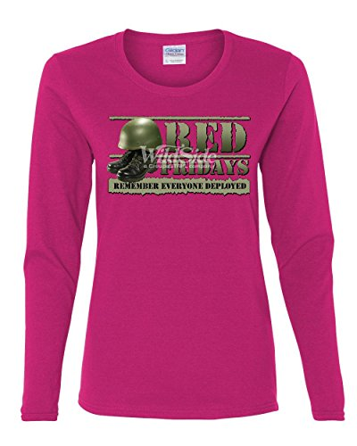 Red Fridays Remember Everyone Deployed Women's Long Sleeve Tee Support US Troops Pink M