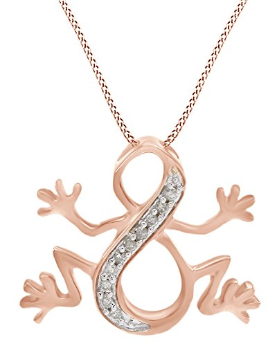 White Natural Diamond Frog Infinity Pendant Necklace in 14k Rose Gold Over Sterling Silver (0.1 Ct)
