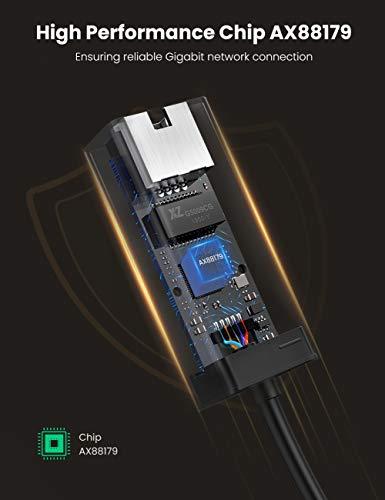 UGREEN Network Adapter USB 3.0 to Ethernet Gigabit RJ45 LAN Adapter Converter for 10/100/1000 Mbps Ethernet Compatible for Nintendo Switch Black